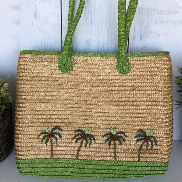 Handbags - Straw bag with palm trees and coconuts beach bag